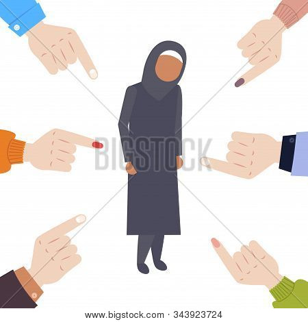 Depressed Arabian Woman Being Bullied Surrounded By Fingers Pointing On Upset Female Character In Tr