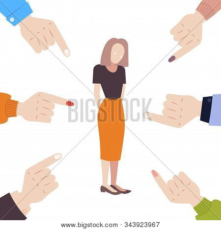 Depressed Businesswoman Being Bullied Surrounded By Fingers Pointing On Upset Girl Violence Victim O