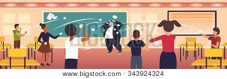 Pupils Demonstrating Bad Behavior Throwing Papers Mocking And Teasing Male Teacher During Lesson Bul