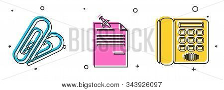 Set Paper Clip, Note Paper With Pinned Pushbutton And Telephone Icon. Vector