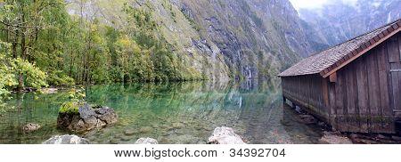 log cabin and water in Obersee,koenigssee, Berchtesgaden