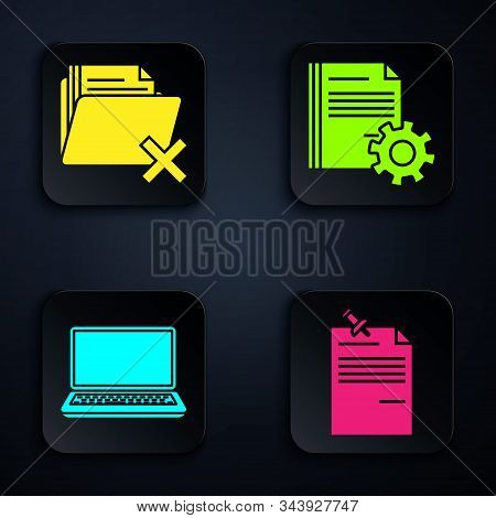 Set Note Paper With Pinned Pushbutton, Delete Folder, Laptop And Document Settings With Gears. Black