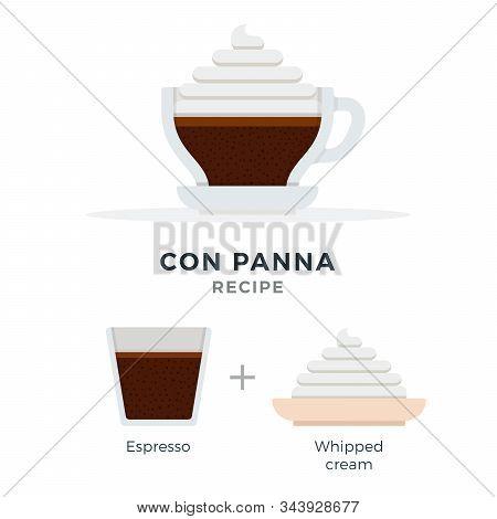 Con Panna Coffee Recipe Vector Flat Isolated