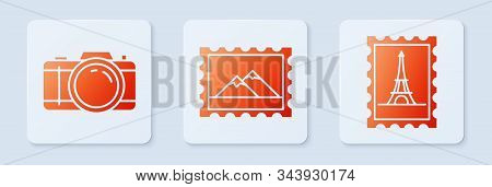 Set Postal Stamp And Mountains, Photo Camera And Postal Stamp And Eiffel Tower. White Square Button.
