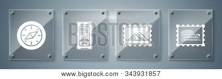Set Postal Stamp And Coliseum, Postal Stamp And Egypt Pyramids, Smartphone With Electronic Boarding