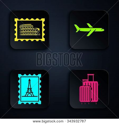 Set Suitcase For Travel, Postal Stamp And Coliseum, Postal Stamp And Eiffel Tower And Plane. Black S