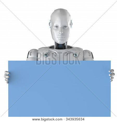Female Cyborg With Empty Note