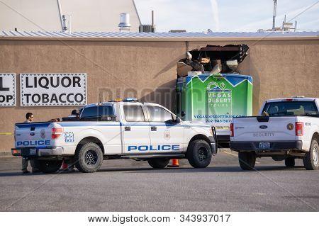 Moapa, Nevada, United States - November 14, 2018: Vegas Desert Tour Bus Drove Into A Wall Of A Gas S