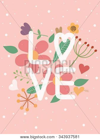 Sweet Valentine's Day Card In Vertical. Valentine Background Or Wallpaper In Pink Color And Text Lov