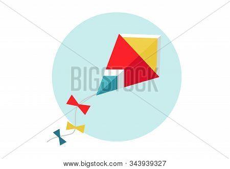 Kite Vector Illustration. Flat Kite Icon. Red Kite In The Sky.
