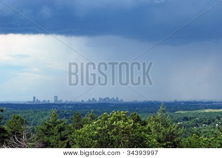Rainy Boston skyline and cloud, from Blue Hills, Milton, State Park
