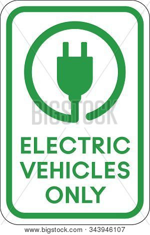 Electric Vehicle Parking Sign | Ev Plug In Glyph | Charging Station | Green Driving | Print Ready Ve