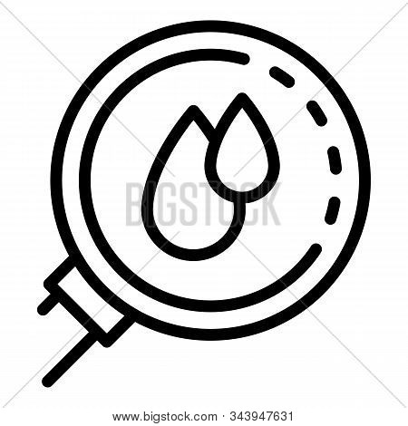 Blood Under Magnifier Icon. Outline Blood Under Magnifier Vector Icon For Web Design Isolated On Whi