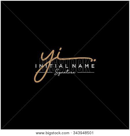 Letter Initial Yi Signature Logo Template Vector