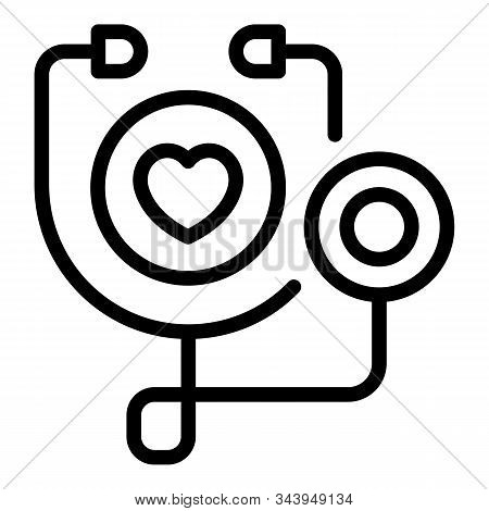 Stethoscope Icon. Outline Stethoscope Vector Icon For Web Design Isolated On White Background