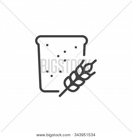 Slice Of A Wheat Bread Line Icon. Linear Style Sign For Mobile Concept And Web Design. Toast Bread A