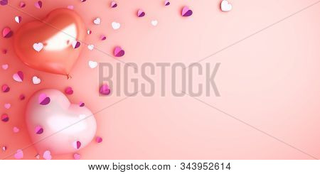 Happy Valentines Day, Valentines Day Background, Heart Shape Balloon, Confetti On Pink Rose Backgrou