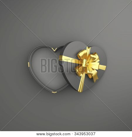 Happy Valentines Day, Valentines Day Background, Black And Gold Opened Heart Shape Gift Box Ribbon O