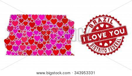 Love Collage Brazil Distrito Federal Map And Grunge Stamp Seal With I Love You Message. Brazil Distr
