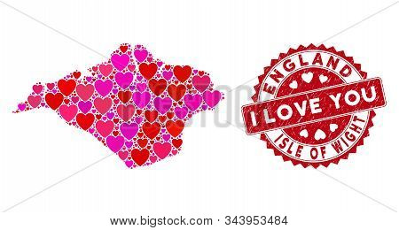 Love Mosaic Isle Of Wight Map And Grunge Stamp Seal With I Love You Text. Isle Of Wight Map Collage