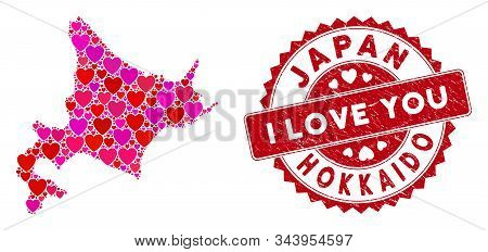 Love Collage Hokkaido Island Map And Rubber Stamp Watermark With I Love You Text. Hokkaido Island Ma