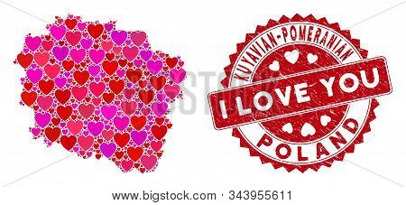 Love Collage Kuyavian-pomeranian Voivodeship Map And Rubber Stamp Watermark With I Love You Phrase.