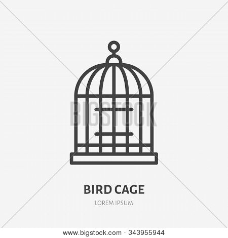 Bird Cage Line Icon, Vector Pictogram Of Birdcage. Illustration, Sign For Pet Shop