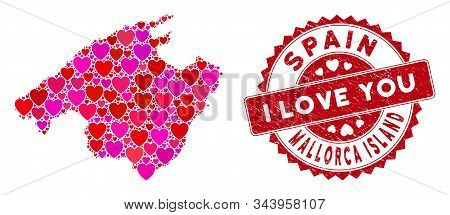Love Collage Spain Mallorca Island Map And Rubber Stamp Seal With I Love You Message. Spain Mallorca