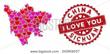 Love Collage Sichuan Province Map And Rubber Stamp Watermark With I Love You Phrase. Sichuan Provinc