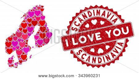 Love Mosaic Scandinavia Map And Distressed Stamp Watermark With I Love You Badge. Scandinavia Map Co