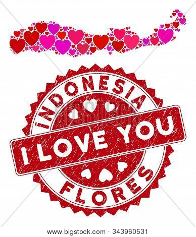 Love Collage Flores Island Of Indonesia Map And Corroded Stamp Seal With I Love You Badge. Flores Is