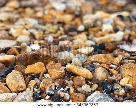 Colorful Stones,colorful Stones Decorate The Garden. Small Rock Background, Stones And Pebbles Backg