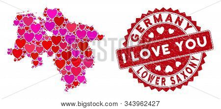 Love Collage Lower Saxony Land Map And Grunge Stamp Seal With I Love You Caption. Lower Saxony Land