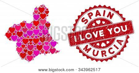 Love Collage Murcia Province Map And Rubber Stamp Seal With I Love You Caption. Murcia Province Map