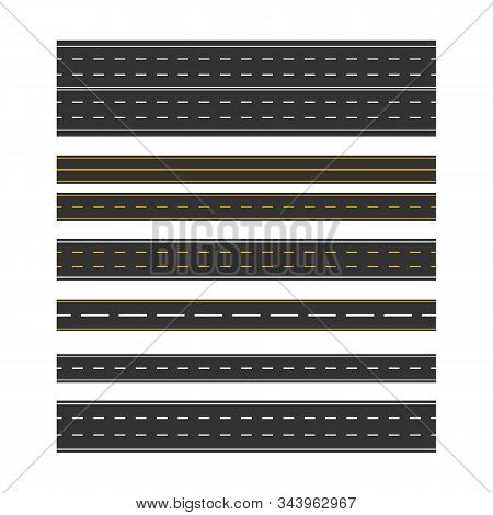 Set Of Road Marking Isolated Background. Top View. Straight Highway