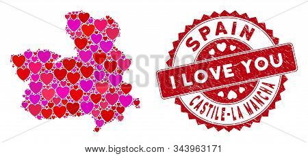 Valentine Collage Castile-la Mancha Province Map And Grunge Stamp Seal With I Love You Caption. Cast