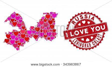 Valentine Collage Leningrad Oblast Map And Grunge Stamp Seal With I Love You Phrase. Leningrad Oblas