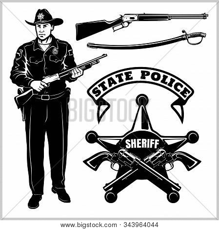 Sheriff Vector Set - Wild West. Design Elements, Badge, Sheriff In Monochrome Style. Vector Illustra