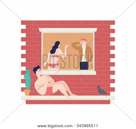 Love Triangle Flat Vector Illustration. Wife, Husband And Paramour. Adultery, Cheating On Spouse, Dr