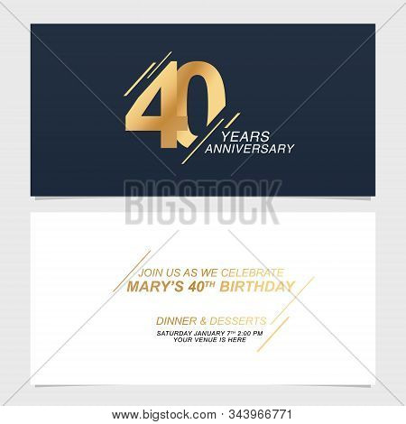 40 Years Anniversary Invitation Card Vector Illustration. Template Design