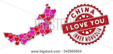 Love Collage Inner Mongolia Map And Rubber Stamp Seal With I Love You Badge. Inner Mongolia Map Coll