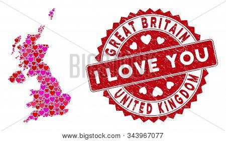 Lovely Collage United Kingdom Map And Rubber Stamp Seal With I Love You Message. United Kingdom Map