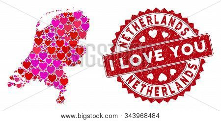 Valentine Mosaic Netherlands Map And Rubber Stamp Seal With I Love You Phrase. Netherlands Map Colla