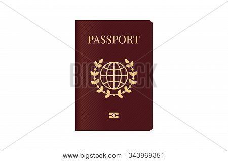 Passport With World Map Globe On Brown Cover. Biometric Citizenship Identification Document For Trav