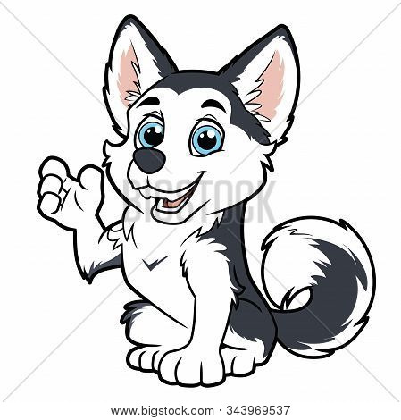 Illustration Of A Cute Husky Dog Waving Paw On A White Background