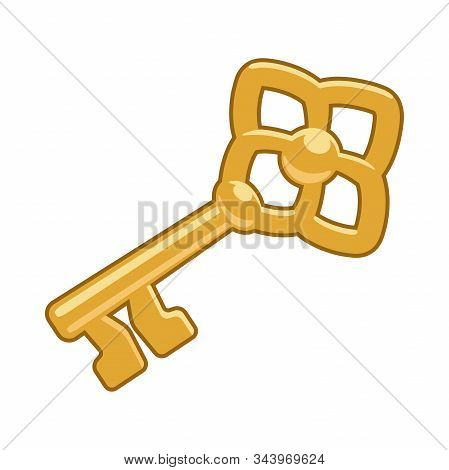 Illustration Of A Big Golden Key Icon On A White Background