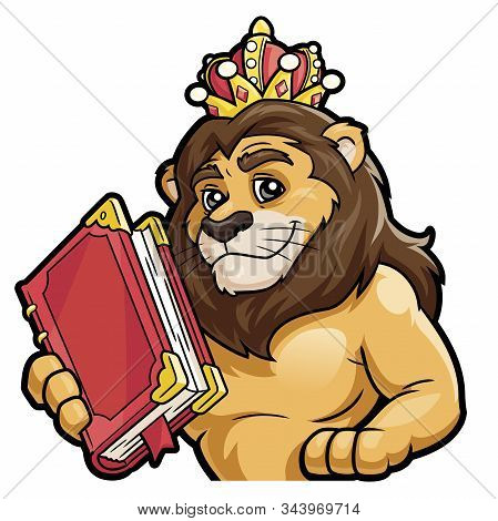 Illustration Of A Lion Holding A Big Book On A White Background