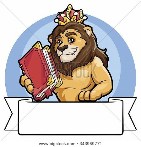 Illustration Of A Lion In A Crown Holding A Big Book. White Banner