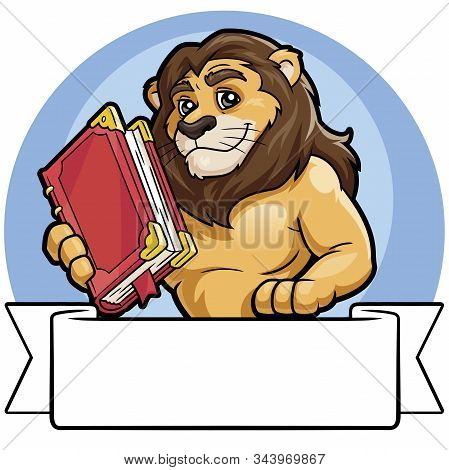Illustration Of A Lion Holding A Big Book. White Banner