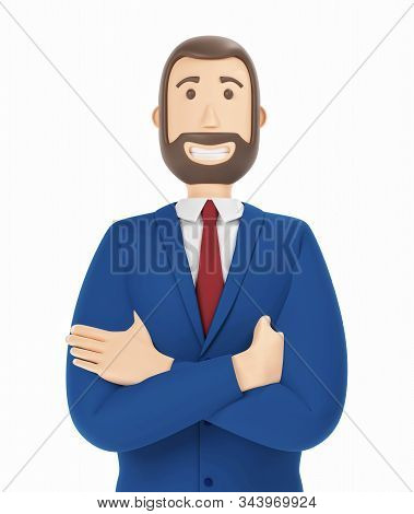 Young Businessman With A Beard. Cartoon Character, Businessman In Suit With Arms Crossed. 3d Renderi